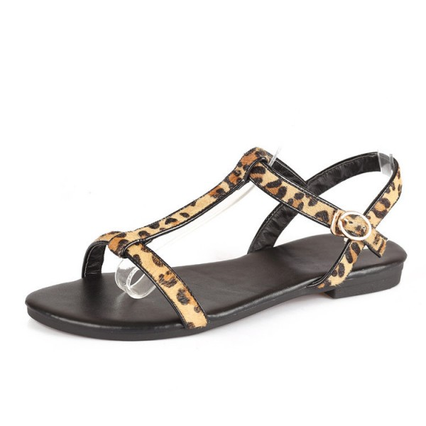 Leopard Print Flats T-strap Sandals for Girls image 1
