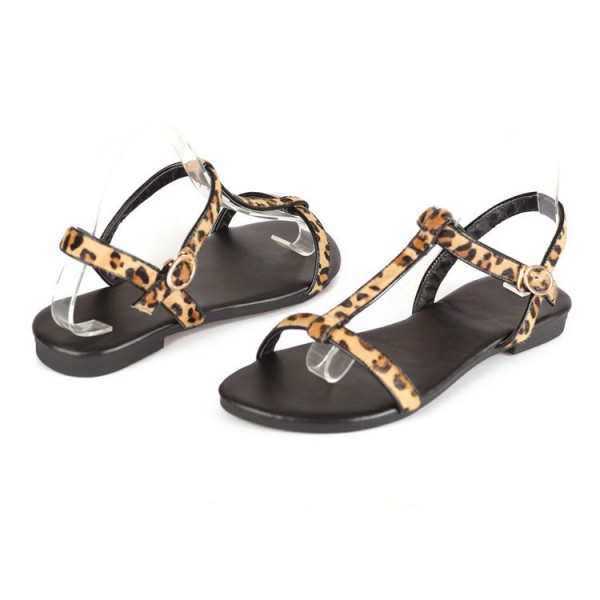 Leopard Print Flats T-strap Sandals for Girls image 2