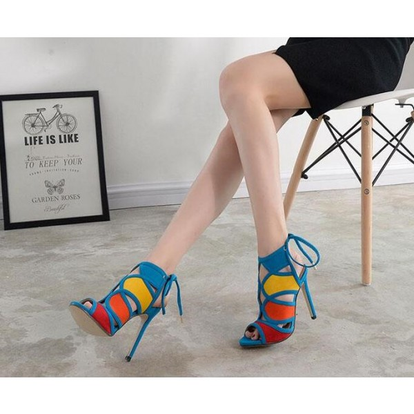 Women's Light Blue Slingback Heels Stiletto Heel Sandals image 2
