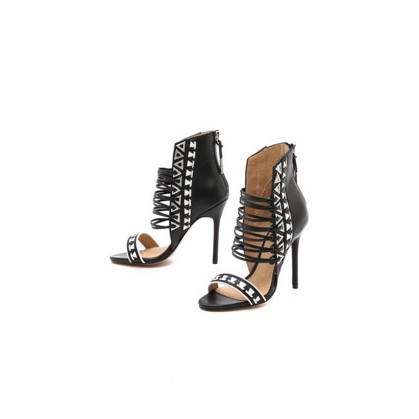 Women's Black and White Stiletto Heels Open Toe Strappy Sandals image 2