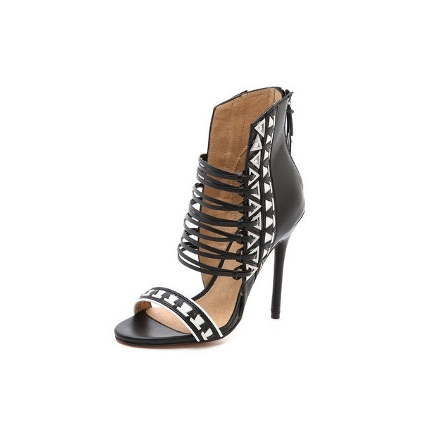 Women's Black and White Stiletto Heels Open Toe Strappy Sandals image 1