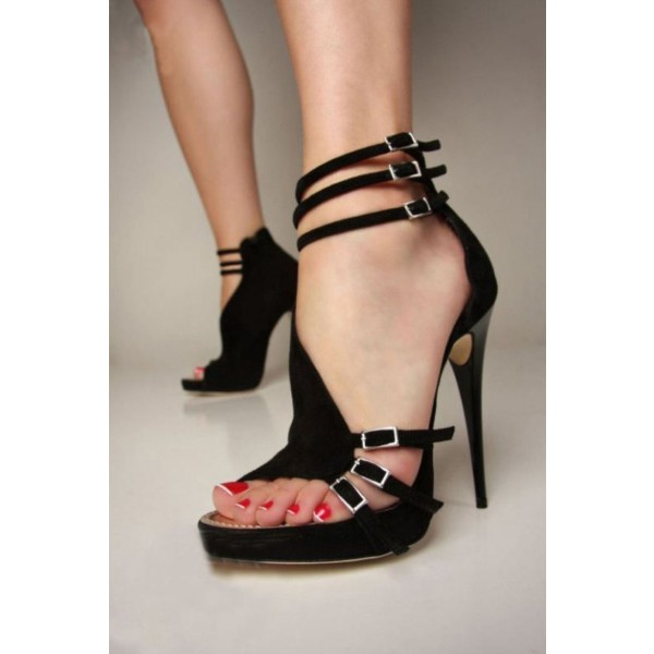 Women's Black Stiletto Heel Open Toe Prom Ankle Strap Sandals image 4