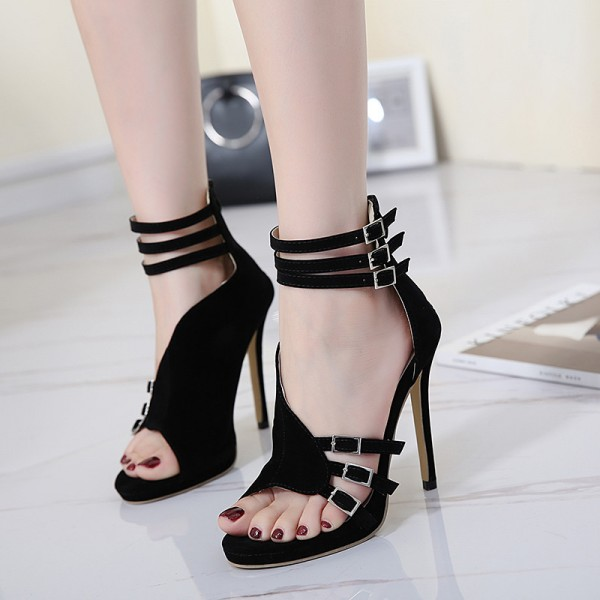 Women's Black Stiletto Heel Open Toe Prom Ankle Strap Sandals image 2