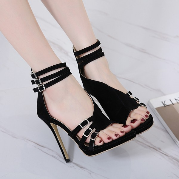 Women's Black Stiletto Heel Open Toe Prom Ankle Strap Sandals image 3