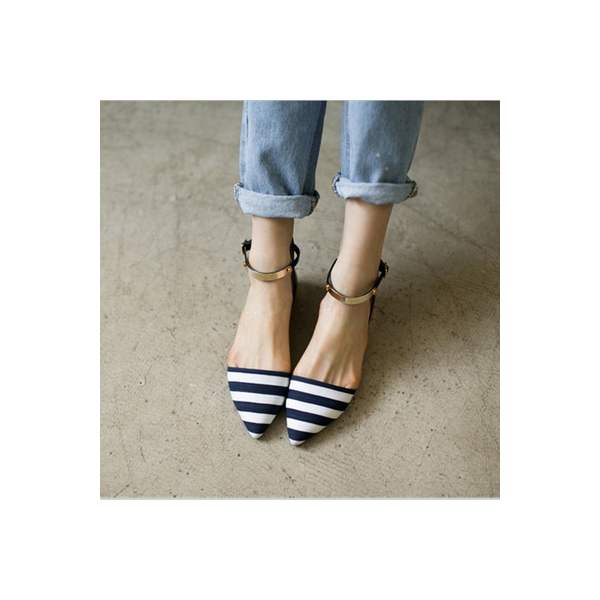 Women's Navy and White Stripes Ankle Strap Comfortable Flats image 2