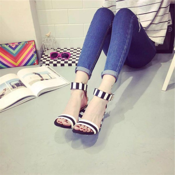 Women's Black and White Heels Ankle Strap Chunky Heel School Shoes image 1