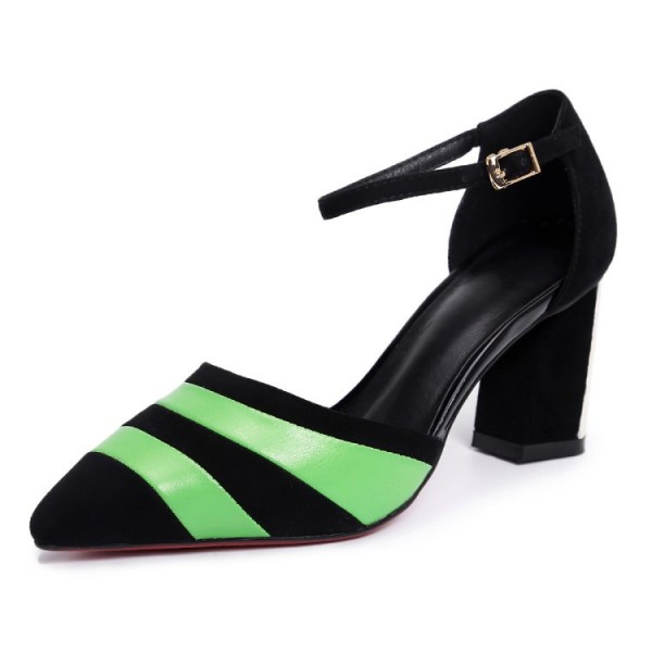 Black and Green Stripes Block Heel Sandals Ankle Strap Stiletto Heels image 1