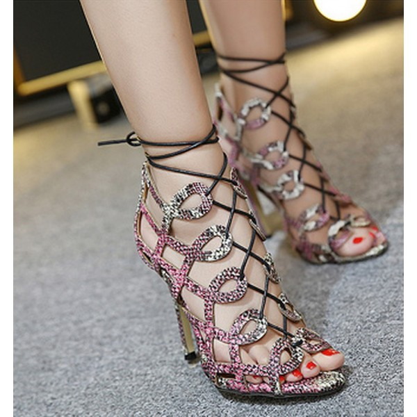 Python Strappy Sandals Open Toe 3 Inch Stiletto Heels for Women image 3