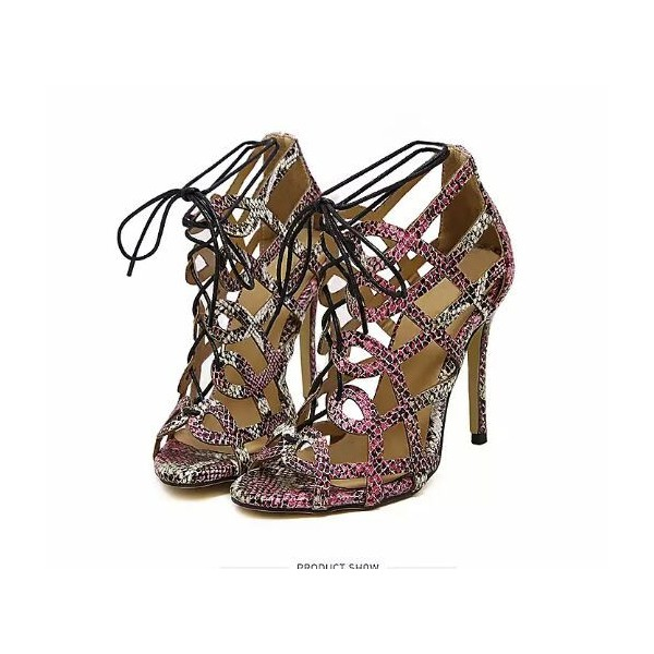 Python Strappy Sandals Open Toe 3 Inch Stiletto Heels for Women image 2