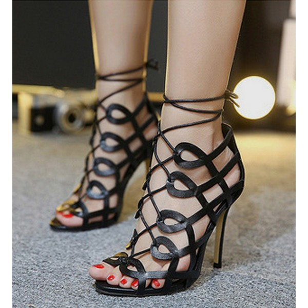 Women's Black Heels Hollow-out Strappy Sandals Open Toe Stiletto Heels image 1