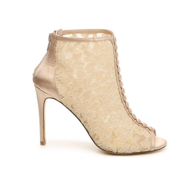 Women's Beige Lace Ankle Boots Peep Toe 4 Inch Heels Wedding Shoes image 3