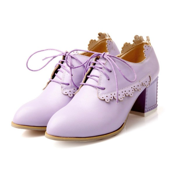 Women's Orchid Lace-up Brogues Block Chunky Heels School Shoes for ...