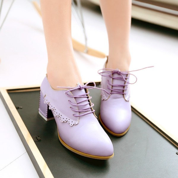 Purple Chunky Heels Lace up School Shoes Heeled Oxfords image 3