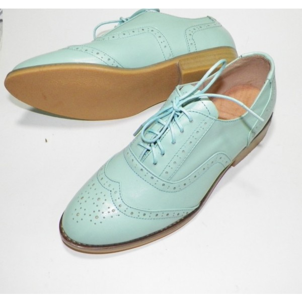 Women's Cyan Round Toe Oxfords Lace Up Flats Vintage Shoes image 1