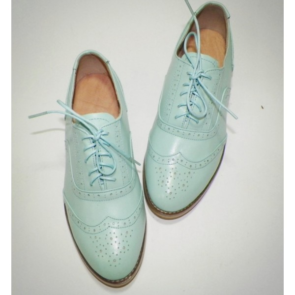 Women's Cyan Round Toe Oxfords Lace Up Flats Vintage Shoes image 2