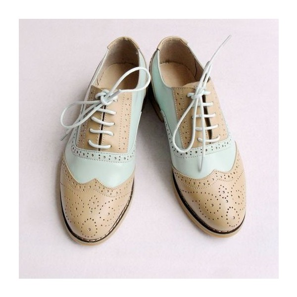 Khaki and White Women's Oxfords Lace-up Vintage Brogues image 1