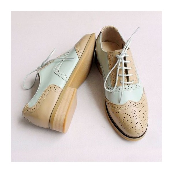 Khaki and White Women's Oxfords Lace-up Vintage Brogues image 4