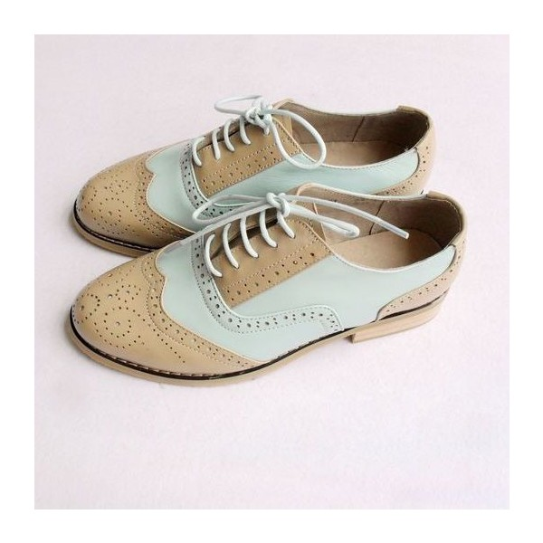 Khaki and White Women's Oxfords Lace-up Vintage Brogues image 3