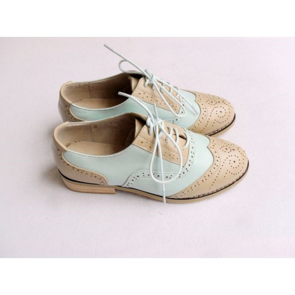 Khaki and White Women's Oxfords Lace-up Vintage Brogues image 5