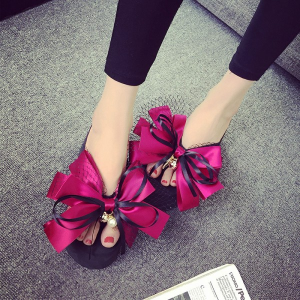 Hot Pink Satin Bow Wedge Flip Flops Cute Platform Sandals image 1