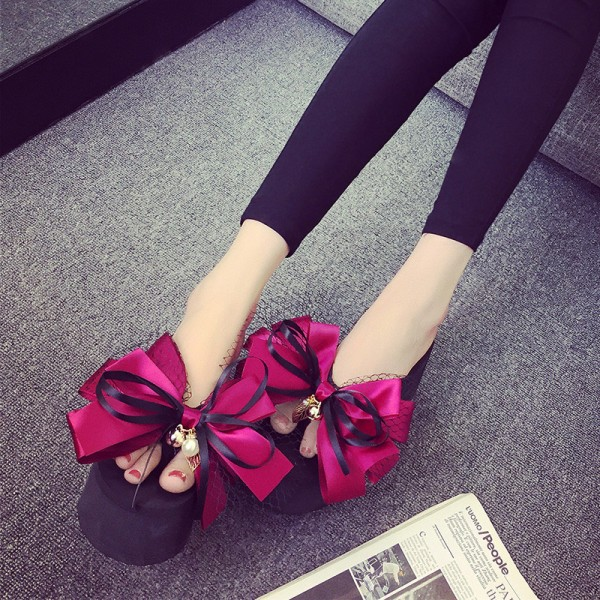 Hot Pink Cute Sandals Open Toe Satin Bow Platform Shoes image 2