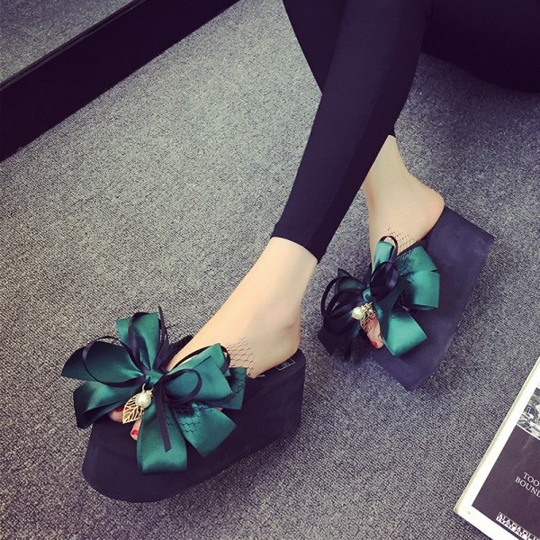 Green Satin Bow Wedge Flip Flops Cute Platform Sandals image 1