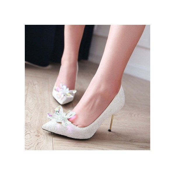 Women's White Stiletto Heels Dazzling Crystal Wedding Shoes image 2