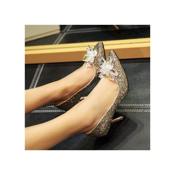 Women's Golden Heels Dazzling Crystal Stiletto Heel Pumps Bridal Heels image 3