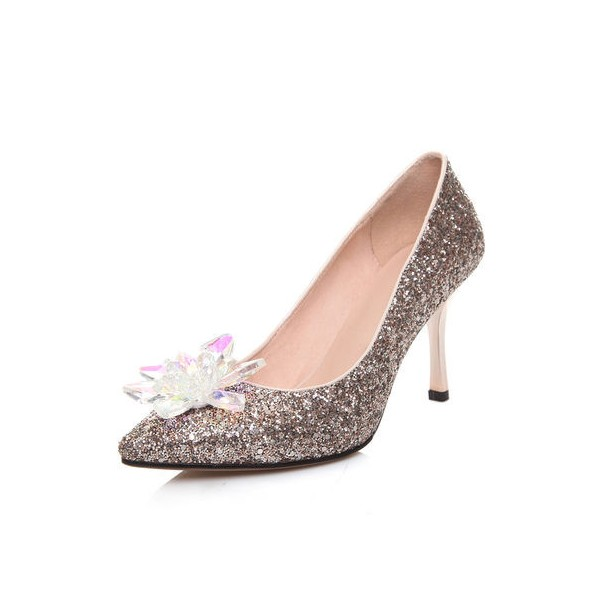 Women's Golden Heels Dazzling Crystal Stiletto Heel Pumps Bridal Heels image 1