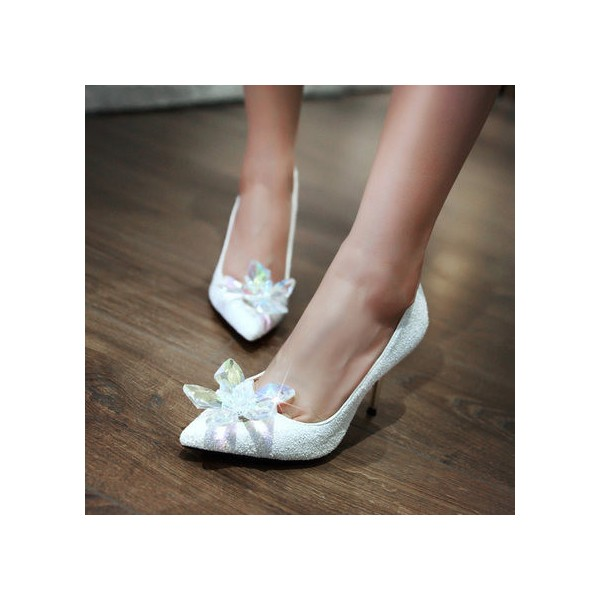 Women's White Stiletto Heels Dazzling Crystal Wedding Shoes image 1