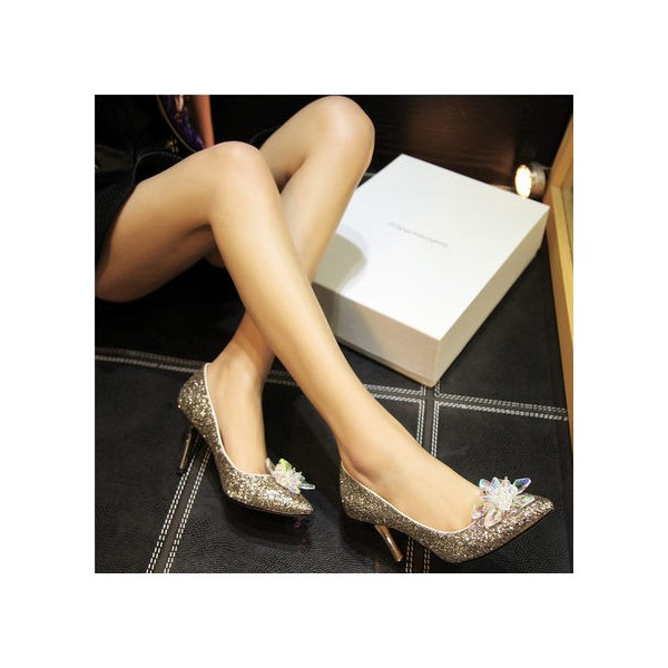 Women's Golden Heels Dazzling Crystal Stiletto Heel Pumps Bridal Heels image 2
