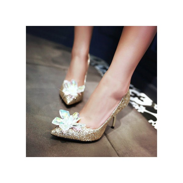 Women's Golden Heels Dazzling Crystal Stiletto Heel Pumps Bridal Heels image 4