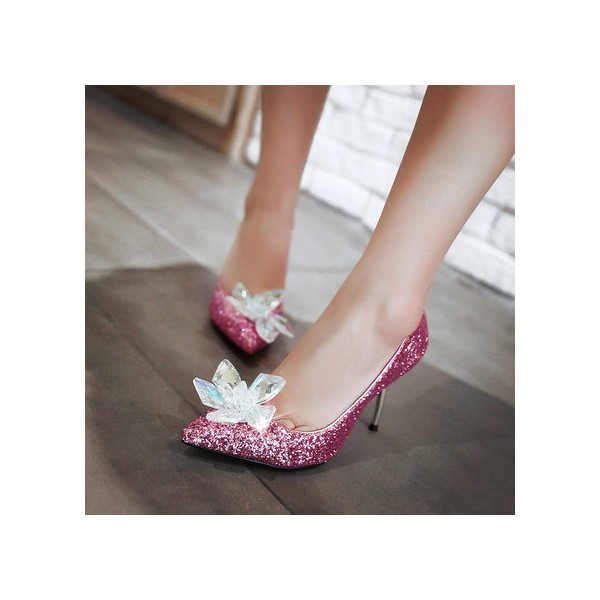 Pink Bridal Heels Rhinestone Sparkly Pointy Toe Glitter Pumps image 2