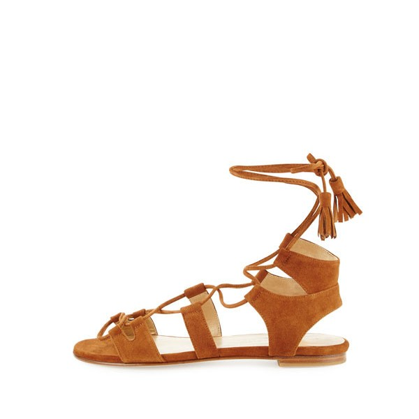 Tan Lace-up Sandals Tassels Suede Strappy Flats image 2
