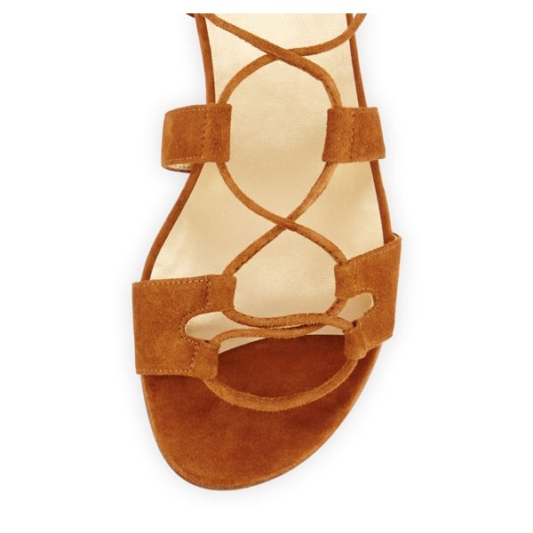 Tan Lace-up Sandals Tassels Suede Strappy Flats image 4