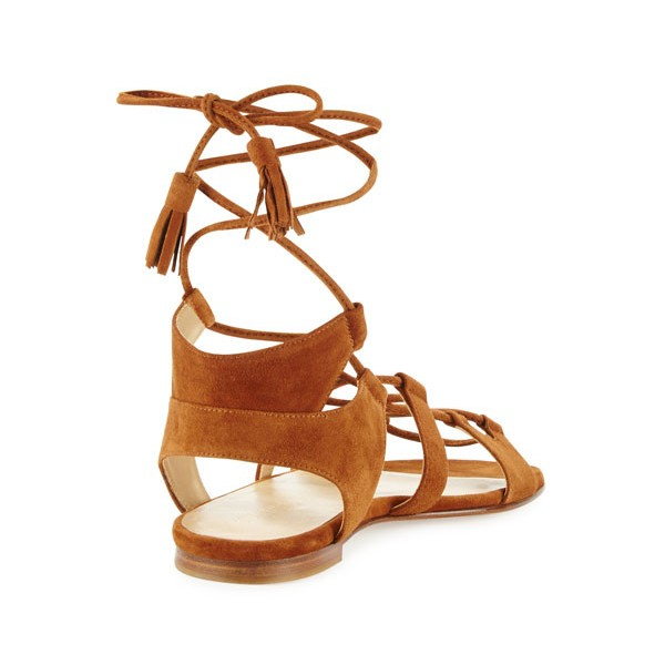 Tan Lace-up Sandals Tassels Suede Strappy Flats image 3