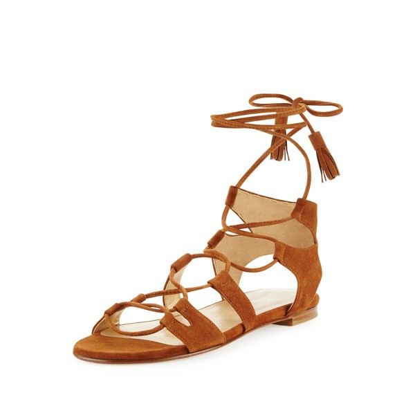Tan Lace-up Sandals Tassels Suede Strappy Flats image 1