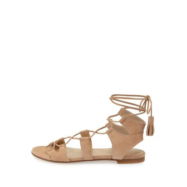 Khaki Lace up Sandals Comfortable Flats Tassles Gladiator Sandals image 2