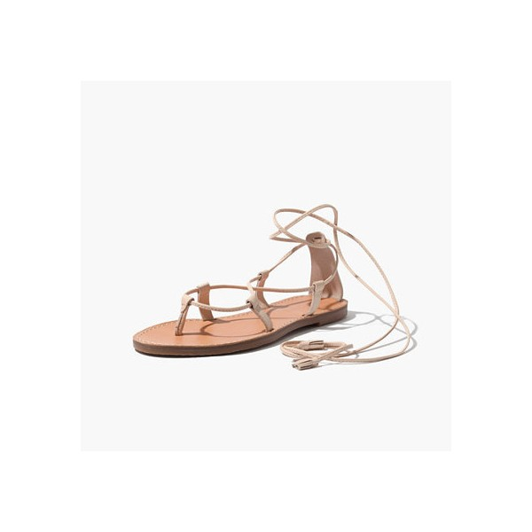 Beige Strappy Sandals Comfortable Flats Summer Sandals image 1