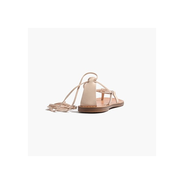 Beige Strappy Sandals Comfortable Flats Summer Sandals image 2