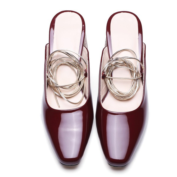 Burgundy Heels Patent Leather and Glitter Square Toe Vintage Mules image 2