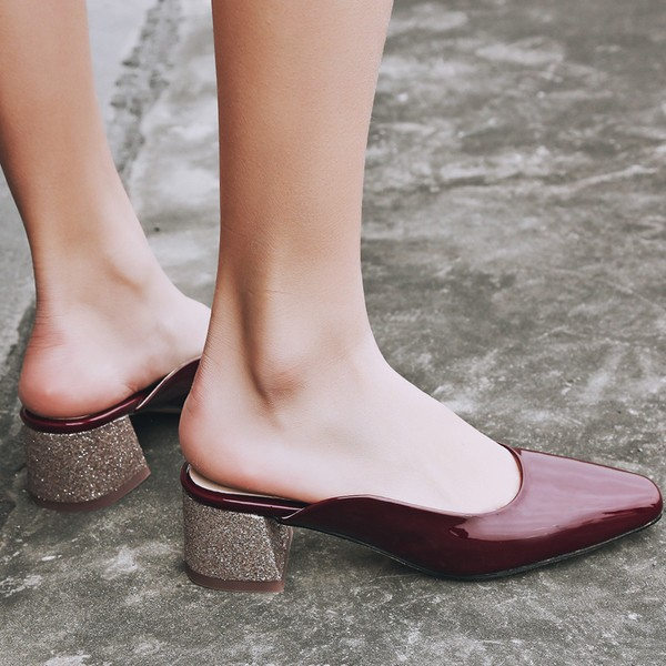Burgundy Heels Patent Leather and Glitter Square Toe Vintage Mules image 3