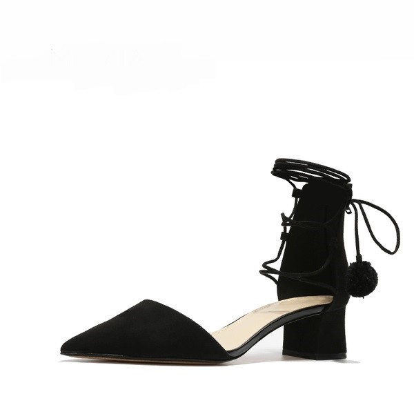 Black Strappy Sandals Chunky Heel Suede Closed Toe Sandals image 2