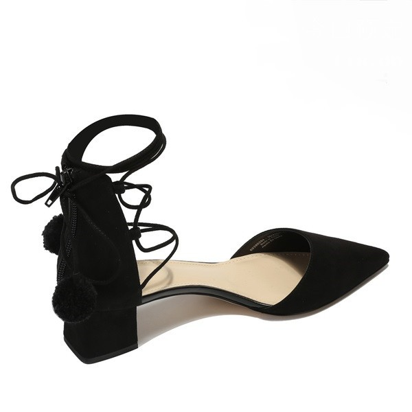 Black Strappy Sandals Chunky Heel Suede Closed Toe Sandals image 3