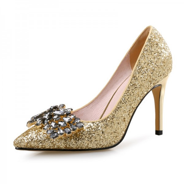 Gold Bridal Heels Sparkly Rhinestone Pointy Toe Glitter Pumps Image 1