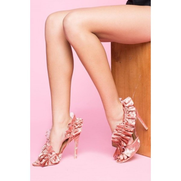 Pink Evening Shoes Suede Lace Stiletto Heels Sandals image 1