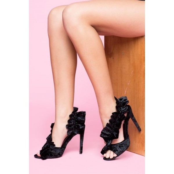 Black Evening Shoes Ruffles Heels Stilettos Sandals image 1