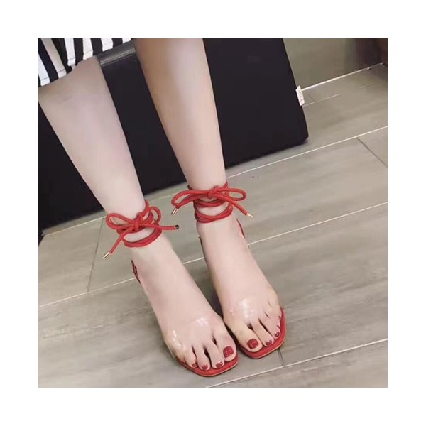 Clear Heels Red Strappy Sandals Open Toe Stiletto Heels for Women image 2