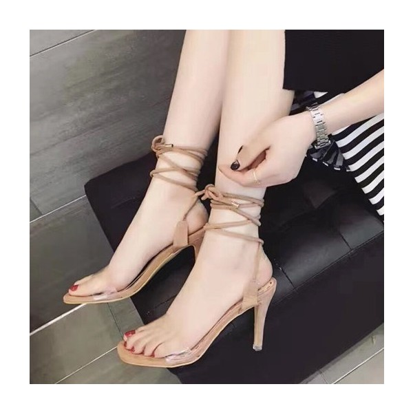 Khaki Suede and Clear Strappy Sandals Open Toe Stiletto Heels image 1
