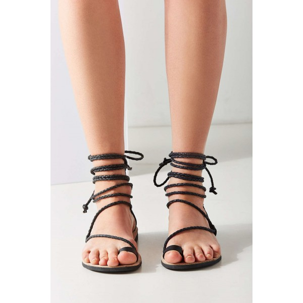 Maroon Gladiator Sandals Knit Strappy Flats for Girls image 2